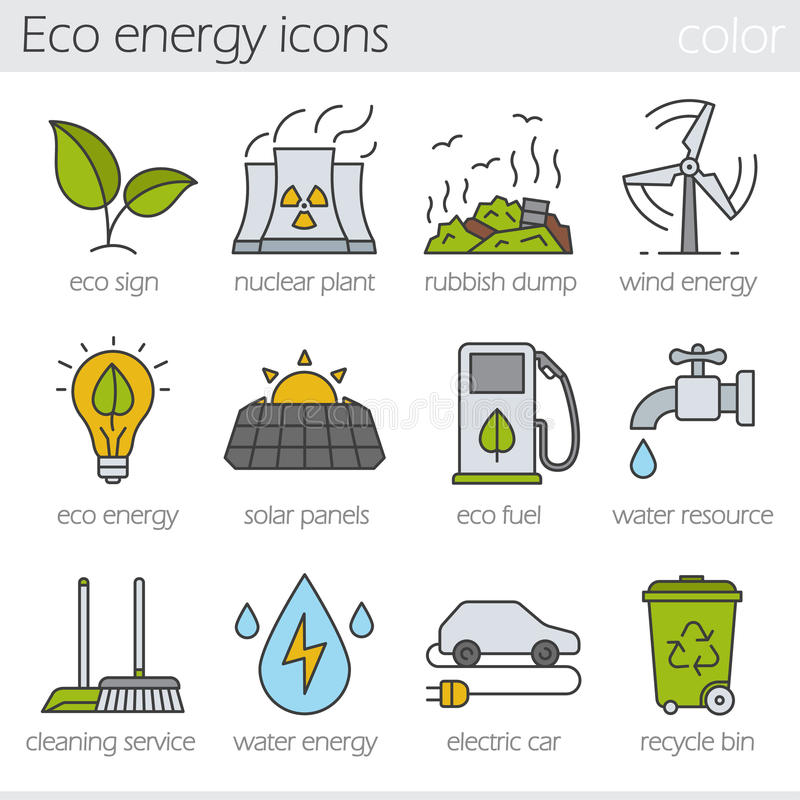 Geplaatste de kleurenpictogrammen van de Ecoenergie stock illustratie