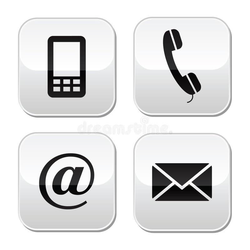 Geplaatste de knopen van het contact - e-mail, envelop, telefoon, mobi royalty-vrije illustratie