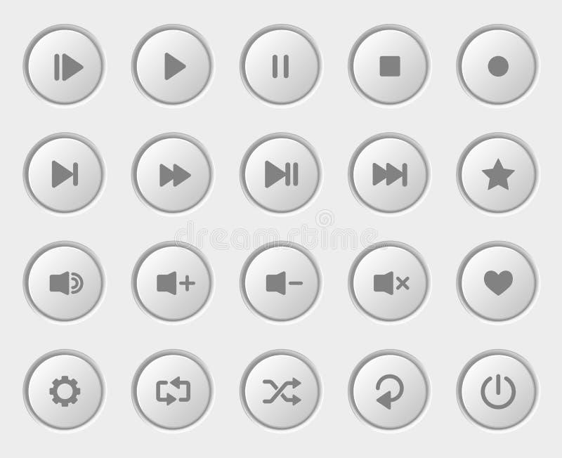 Geplaatste de knopen van de spelernavigatie Wit Plastic Controlebord stock illustratie