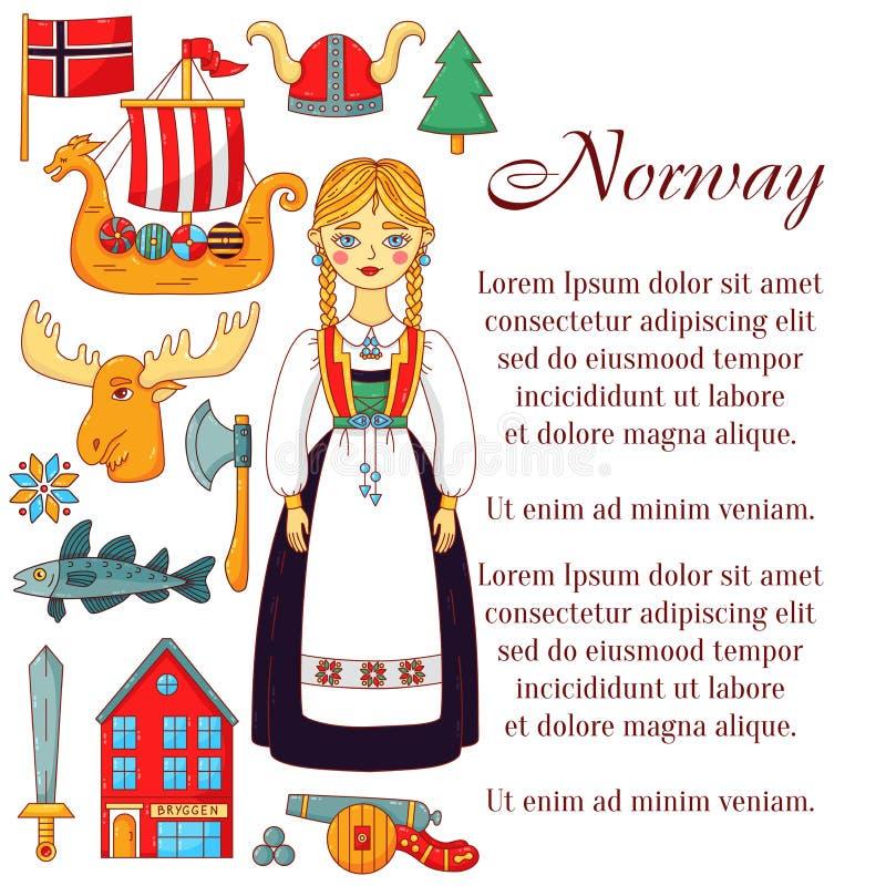 Geplaatste de krabbelpictogrammen van Noorwegen vector illustratie
