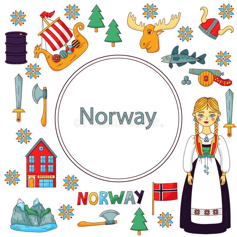 Geplaatste de krabbelpictogrammen van Noorwegen royalty-vrije illustratie