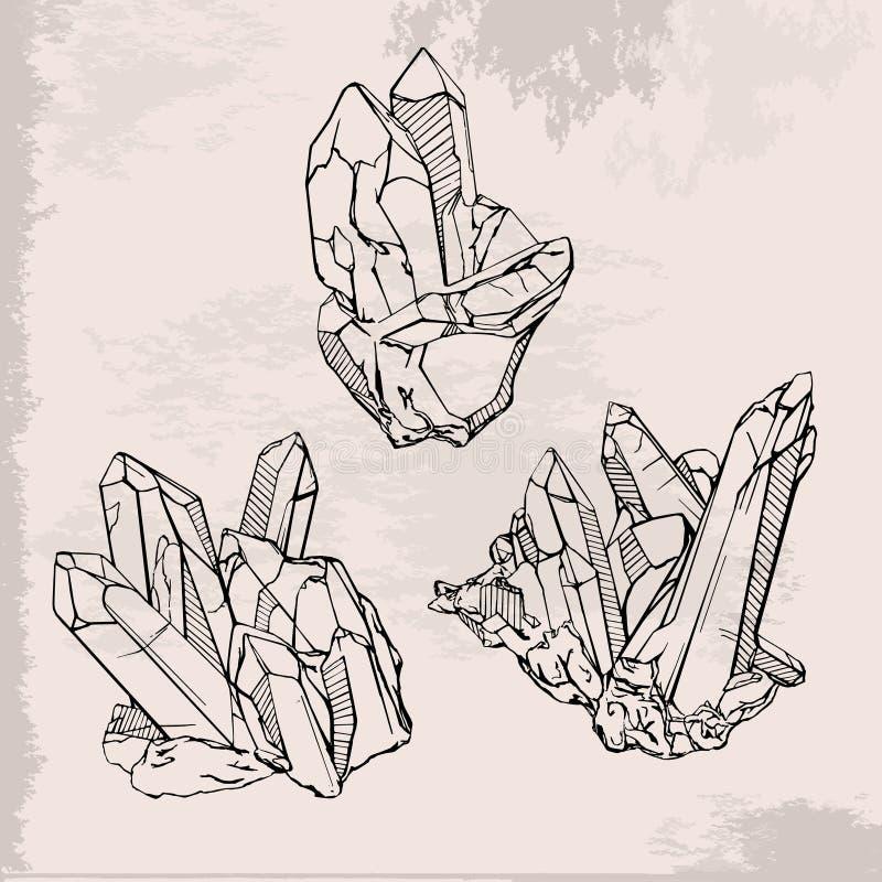 Geplaatste de kristallen van de handtekening royalty-vrije illustratie
