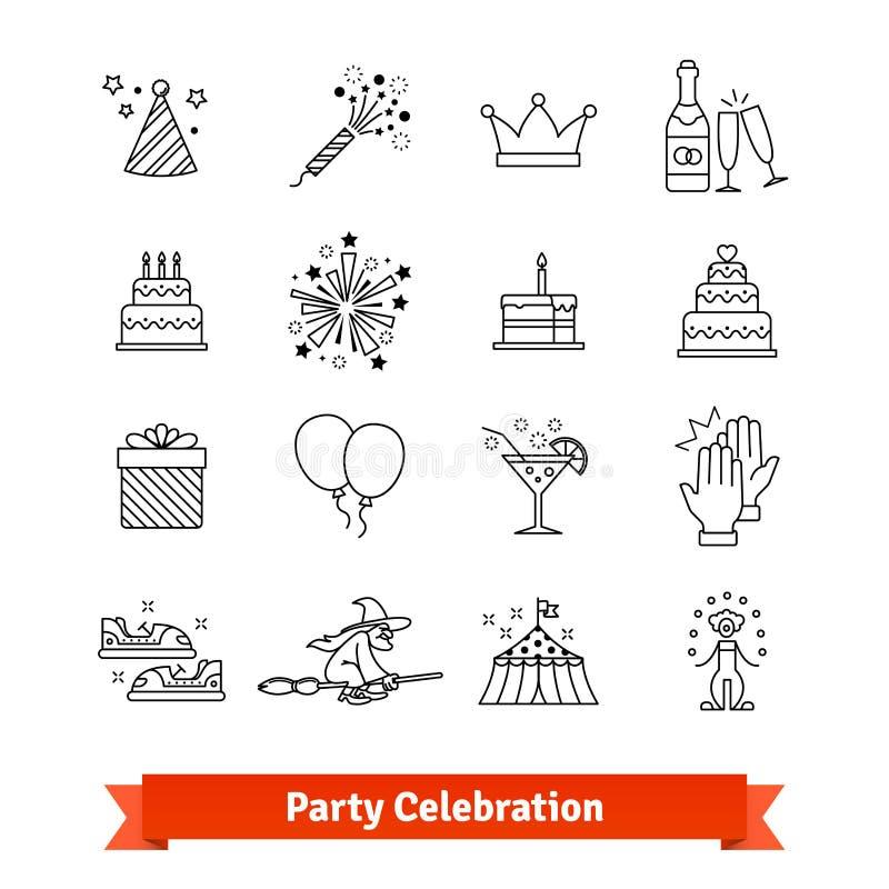 Geplaatste de kunstpictogrammen van de partij dunne lijn vermaak royalty-vrije illustratie