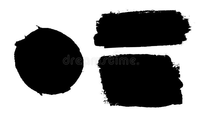 Geplaatste de kwaststreken isoleerden witte achtergrond Borstel van de cirkel de zwarte verf Grungetextuur om slag Inkt vuil ontw stock illustratie