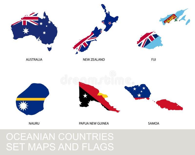 Geplaatste de landen van Oceanië, kaarten en vlaggen vector illustratie