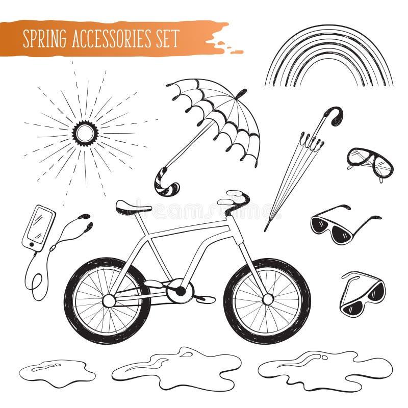 Geplaatste de lentetoebehoren vector illustratie