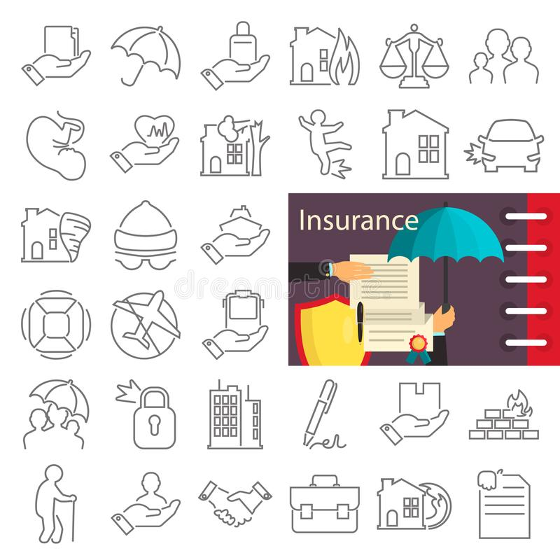 Geplaatste de lijn de pictogrammen van de verzekeringsdienst verfraaiden thematische kleur vlakke illustratie stock illustratie