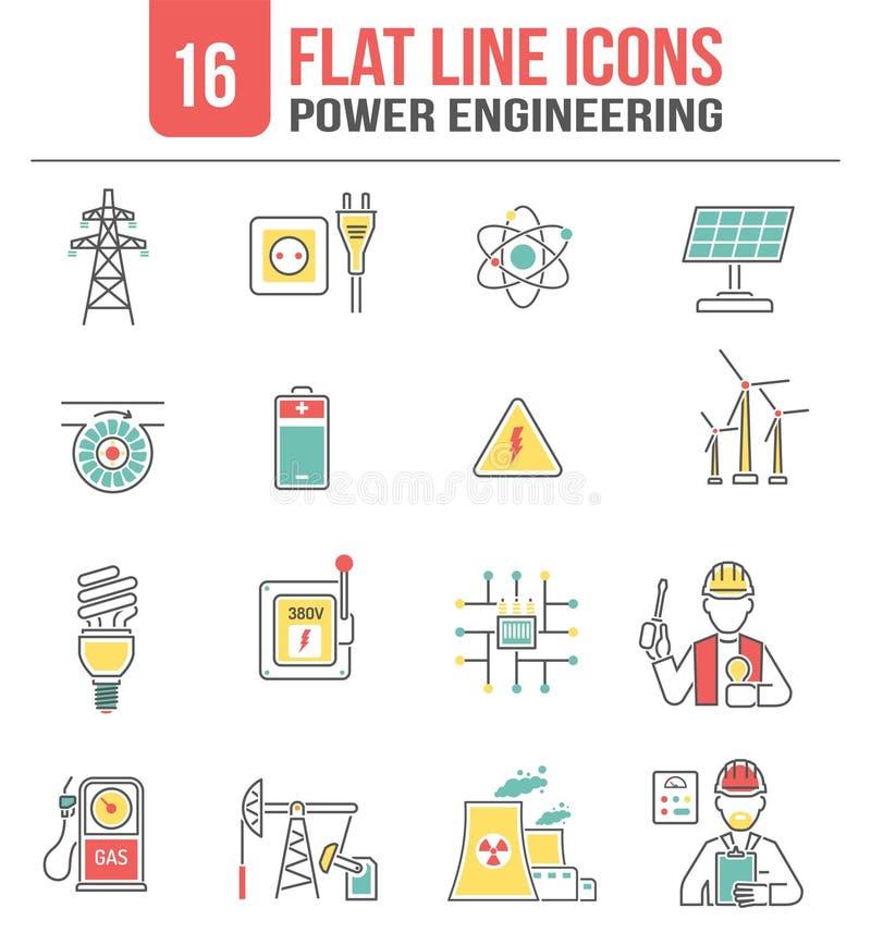 Geplaatste de lijnpictogrammen van de energiemacht royalty-vrije illustratie