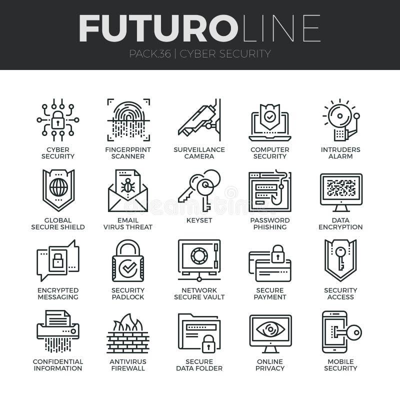 Geplaatste de Lijnpictogrammen van Futuro van de Cyberveiligheid stock illustratie