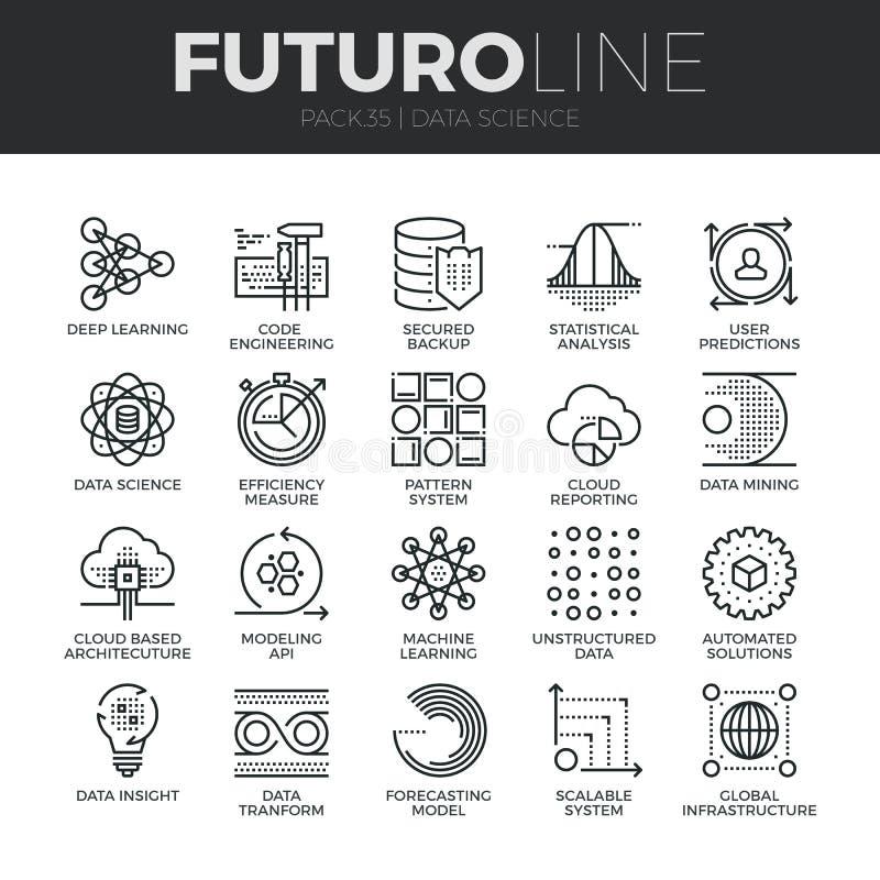 Geplaatste de Lijnpictogrammen van Futuro van de gegevenswetenschap vector illustratie