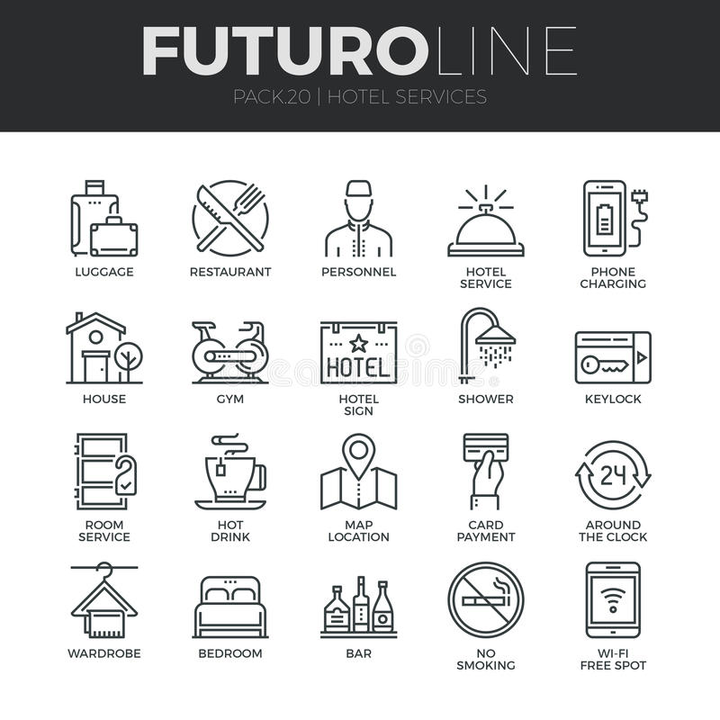 Geplaatste de Lijnpictogrammen van Futuro van de hoteldiensten royalty-vrije illustratie