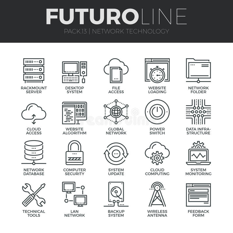 Geplaatste de Lijnpictogrammen van Futuro van de netwerktechnologie royalty-vrije illustratie