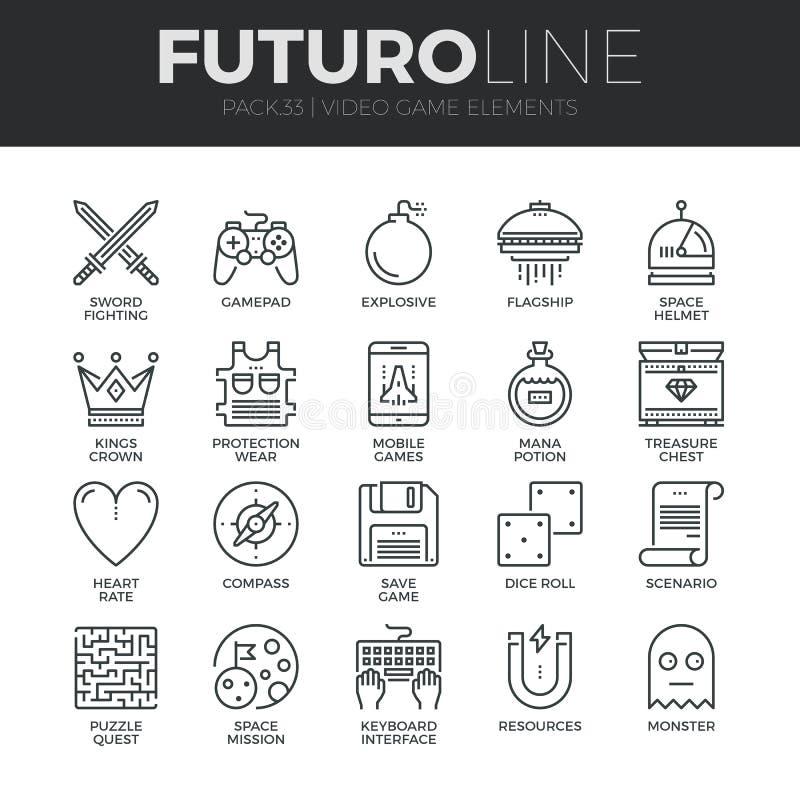 Geplaatste de Lijnpictogrammen van Futuro van videospelletjeelementen vector illustratie