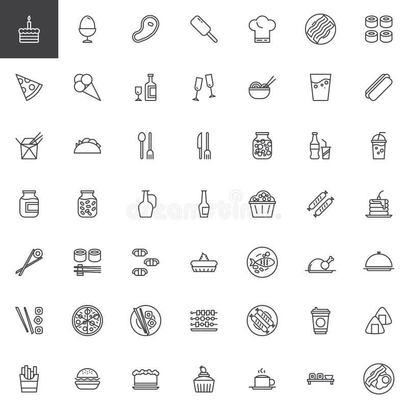 Geplaatste de lijnpictogrammen van het restaurantvoedsel vector illustratie