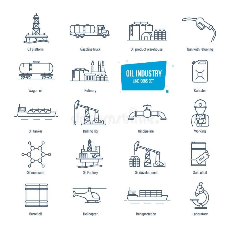Geplaatste de lijnpictogrammen van de olieindustrie Benzinestation, fabriek, vervoer, gebouwen royalty-vrije illustratie