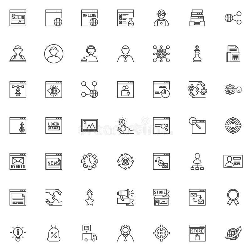 Geplaatste de lijnpictogrammen van SEO en van de Internetservice royalty-vrije illustratie