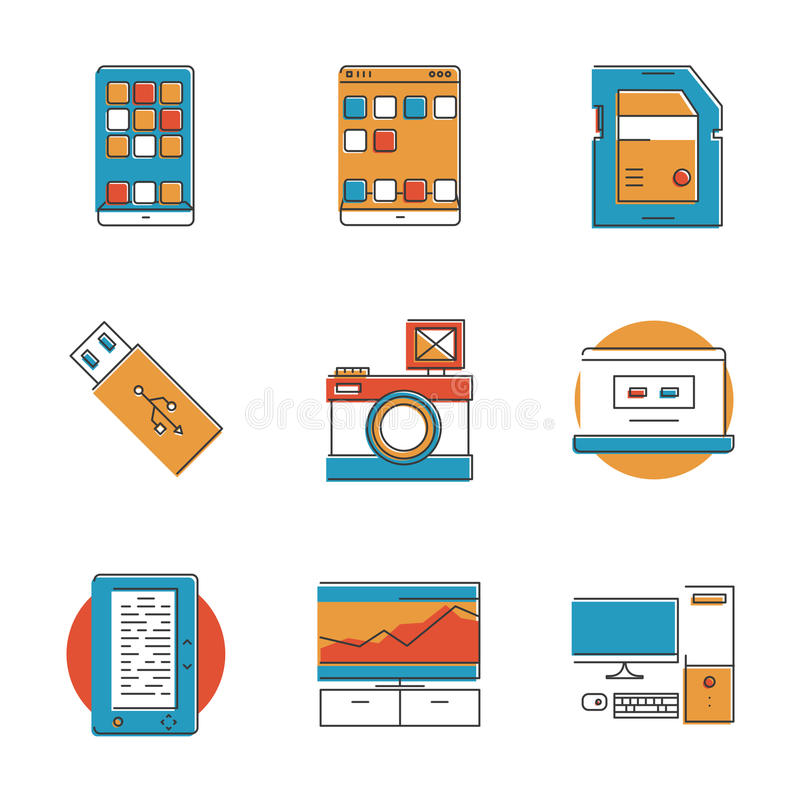 Geplaatste de lijnpictogrammen van technologieapparaten vector illustratie