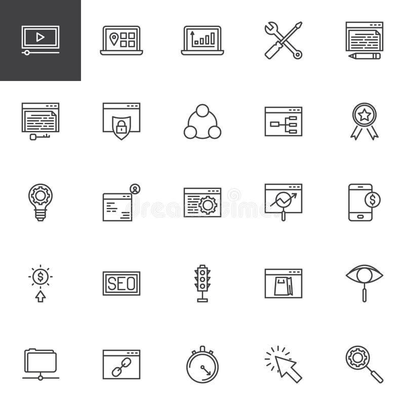 Geplaatste de lijnpictogrammen van de zoekmachineoptimalisering royalty-vrije illustratie