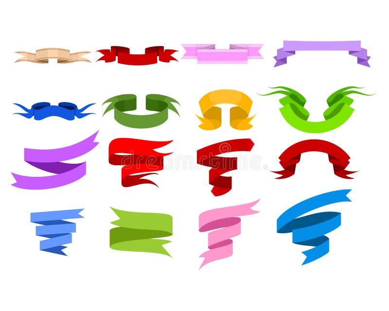 Geplaatste de linten van de kleur stock illustratie