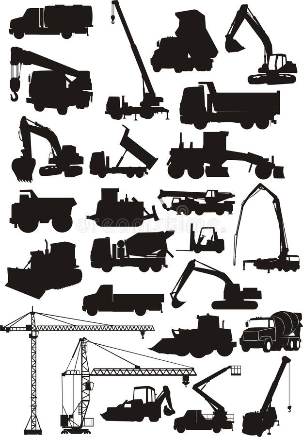 Geplaatste de machines van de bouw stock illustratie