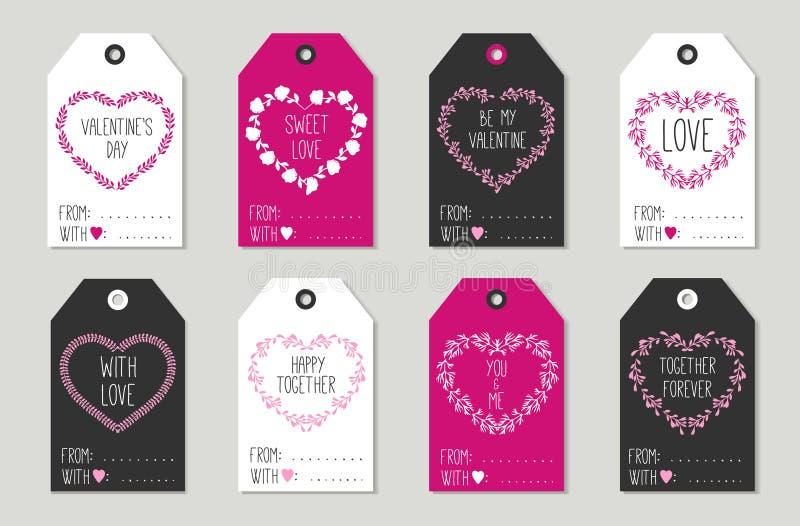 Geplaatste de markeringen van de de daggift van Valentine, stickers en etiketten vector illustratie