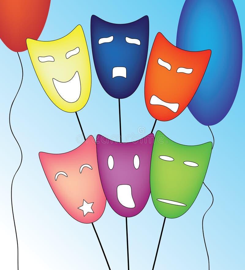 Download Geplaatste De Maskers Van De Stemming Stock Illustratie - Illustratie bestaande uit blauw, ballen: 10781221
