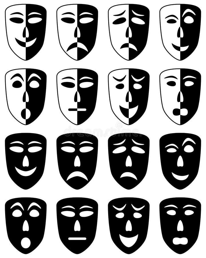 Geplaatste de Maskers van het theater royalty-vrije illustratie