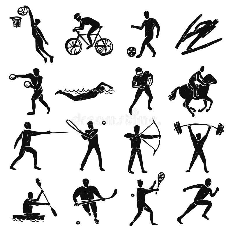 Geplaatste de Mensen van de sportschets stock illustratie
