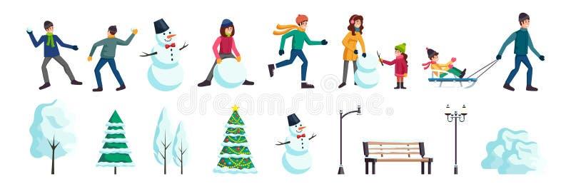 Geplaatste de Mensen van de de winterstad vector illustratie