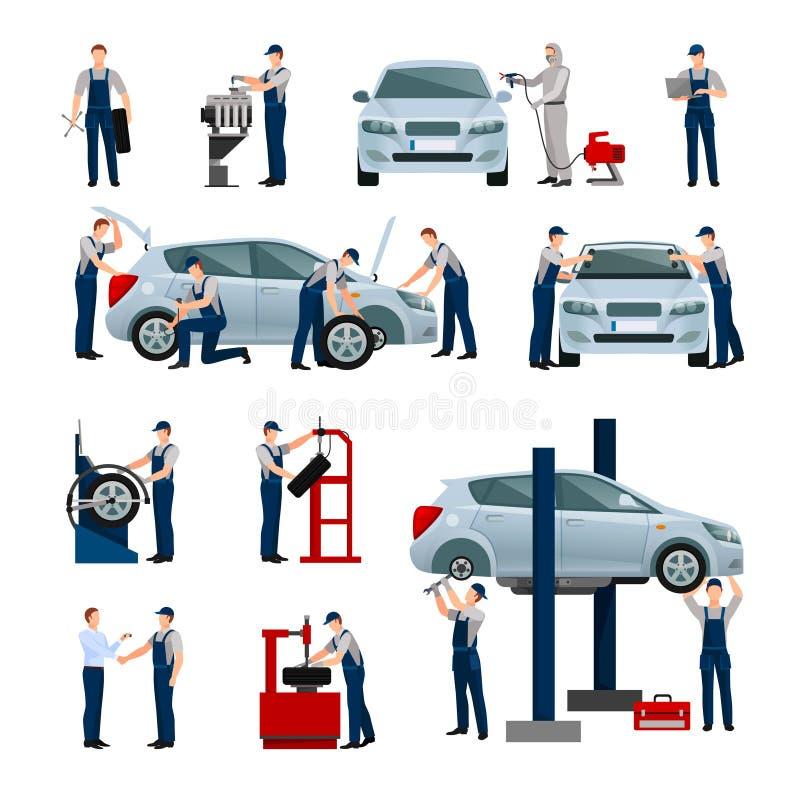 Geplaatste de Mensenpictogrammen van de autodienst royalty-vrije illustratie