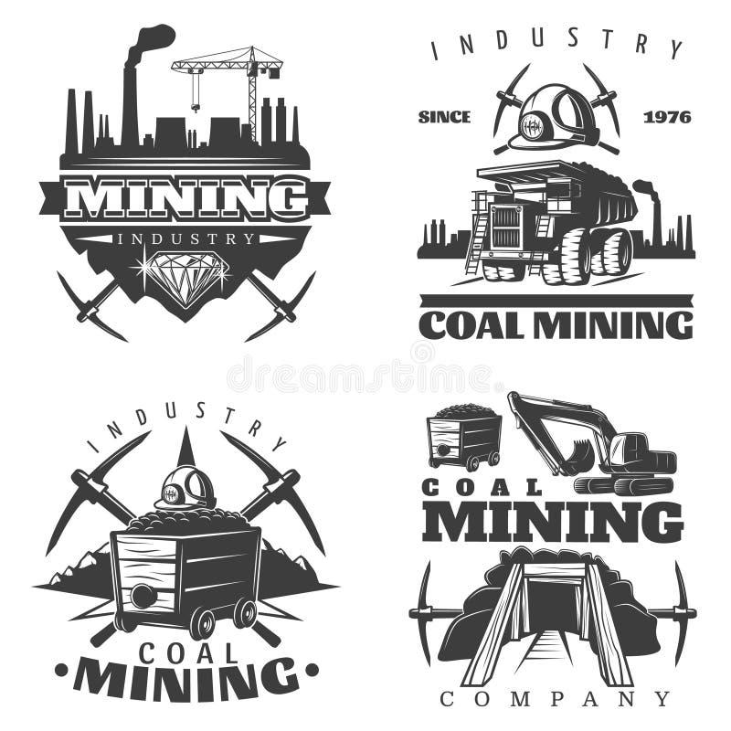 Geplaatste de Ontwerpen van het mijnbouwembleem royalty-vrije illustratie