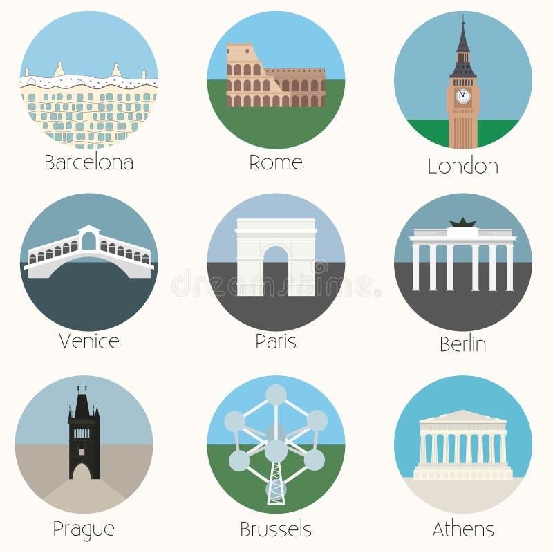 Geplaatste de Oriëntatiepuntenpictogrammen van Europa - Vectoreps10 vector illustratie