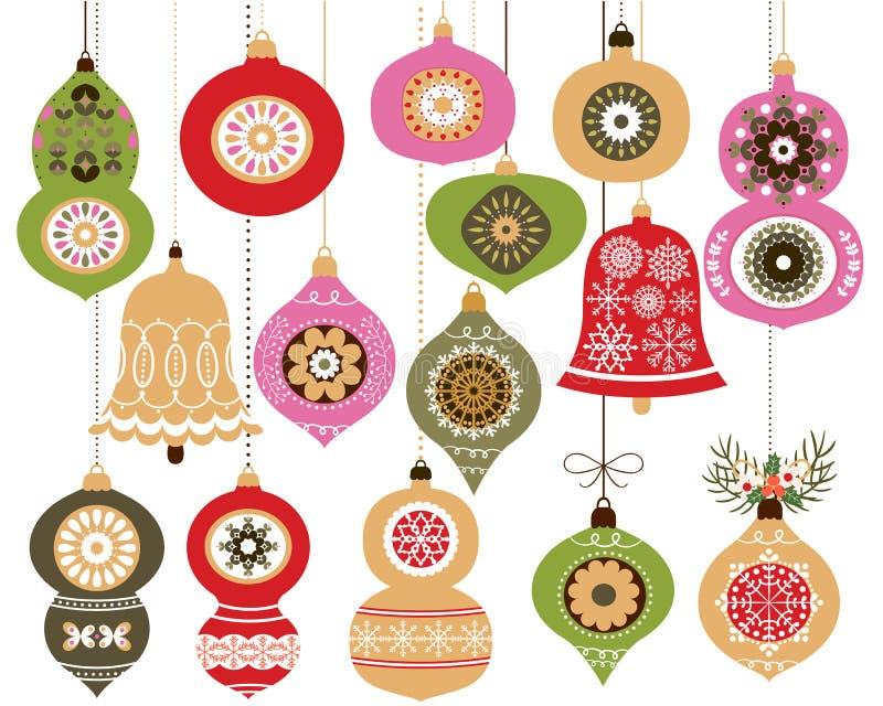 Geplaatste de ornamenten van Kerstmis vector illustratie