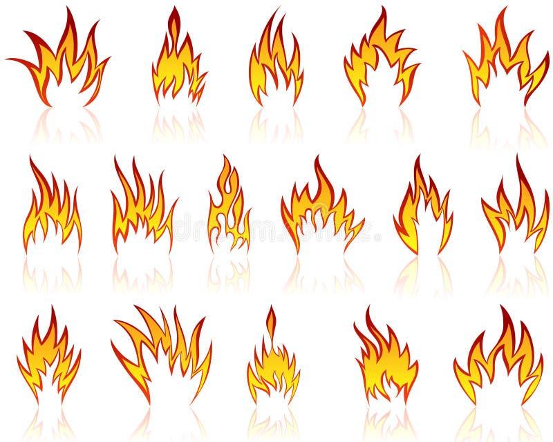 Geplaatste de patronen van de brand vector illustratie