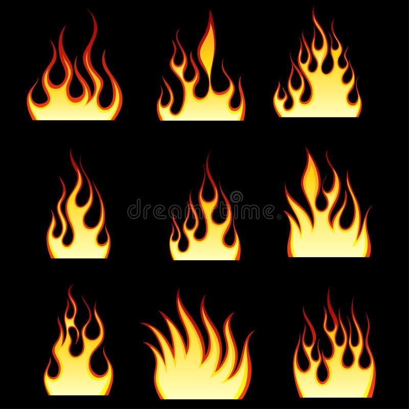 Geplaatste de patronen van de brand stock illustratie