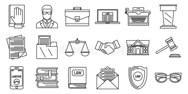 Geplaatste de pictogrammen van de advocaatrechtvaardigheid, schetsen stijl vector illustratie