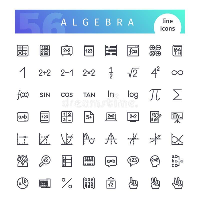 Geplaatste de Pictogrammen van de algebralijn stock illustratie