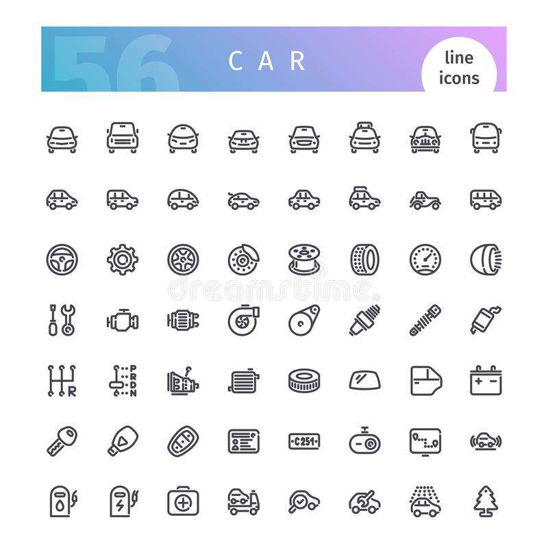 Geplaatste de pictogrammen van de autolijn stock illustratie
