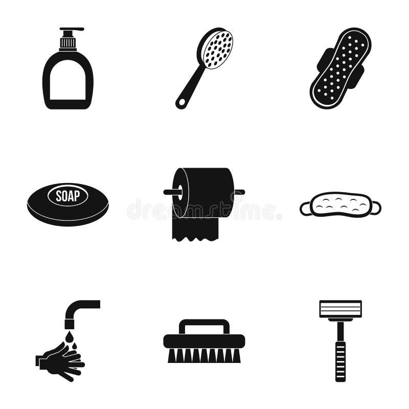 Geplaatste de pictogrammen van badkamersdingen, eenvoudige stijl royalty-vrije illustratie