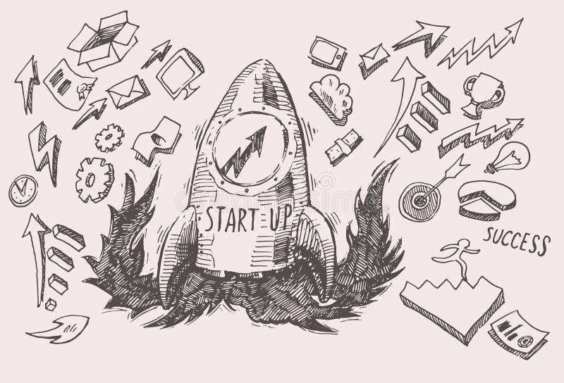 Geplaatste de pictogrammen van bedrijfsidee startconceptenkrabbels royalty-vrije illustratie