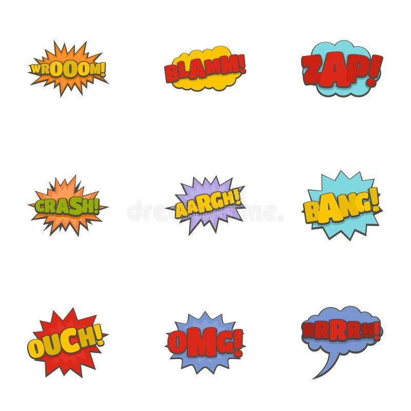 Geplaatste de pictogrammen van de bioskoopbanner, beeldverhaalstijl stock illustratie