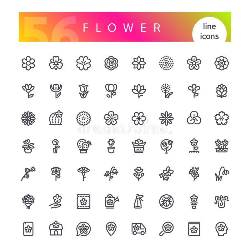 Geplaatste de Pictogrammen van de bloemlijn royalty-vrije illustratie