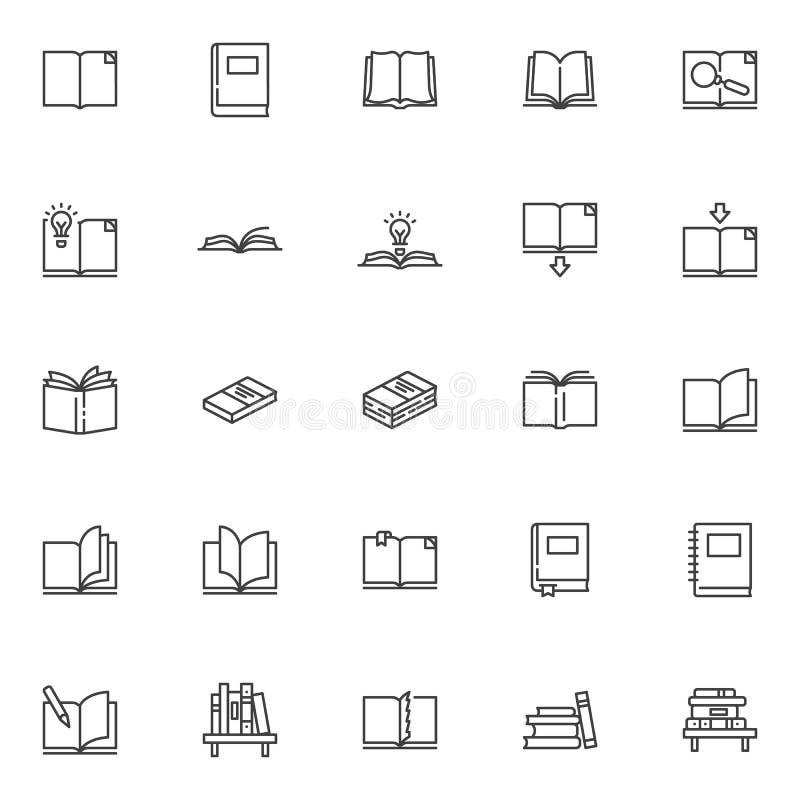 Geplaatste de pictogrammen van de boekenlijn royalty-vrije illustratie