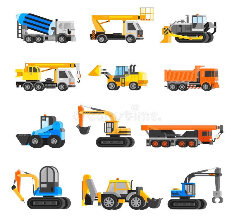 Geplaatste de Pictogrammen van bouwmachines stock illustratie