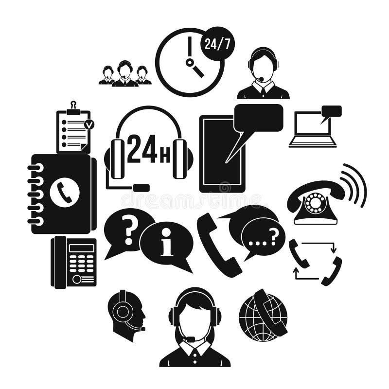 Geplaatste de pictogrammen van call centresymbolen, eenvoudige stijl stock illustratie