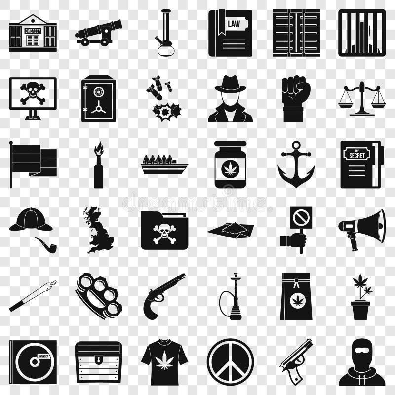 Geplaatste de pictogrammen van de computermisdaad, eenvoudige stijl stock illustratie