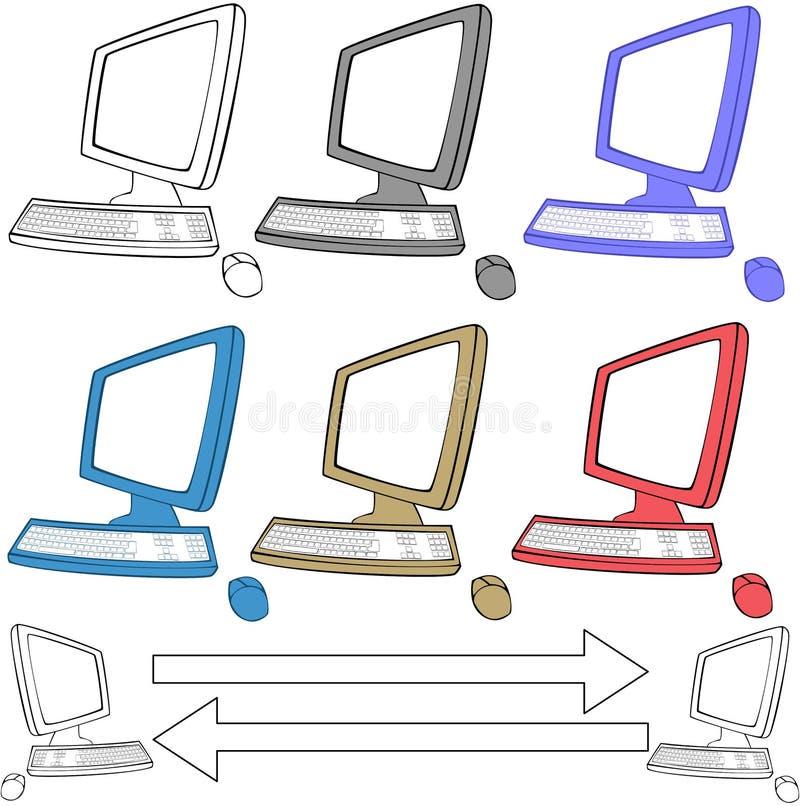 Geplaatste de pictogrammen van computers stock illustratie