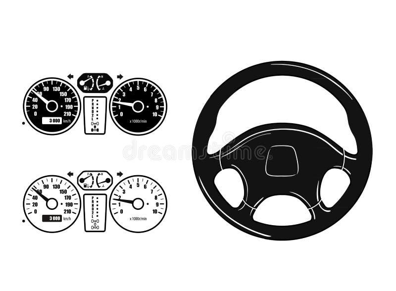 Geplaatste de pictogrammen van de auto royalty-vrije illustratie
