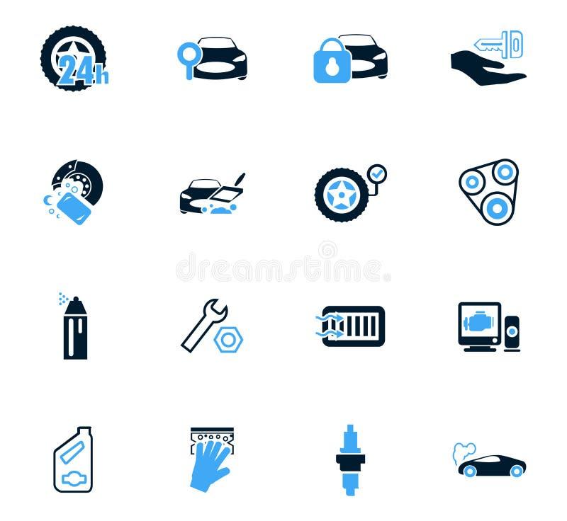 Geplaatste de pictogrammen van de autowinkel vector illustratie