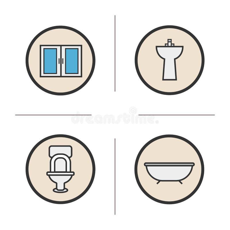 Geplaatste de pictogrammen van de badkamerskleur royalty-vrije illustratie